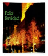 Feliz Navidad - Merry Christmas In New York - Trees And Star Holiday And Christmas Card Fleece Blanket