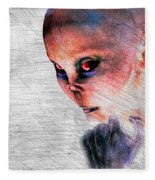 Female Alien Portrait Fleece Blanket