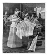 Female Barber-shop, 1895 Fleece Blanket