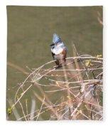 Female Belted Kingfisher Fleece Blanket