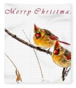 Female Cardinals Card Fleece Blanket