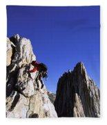 Female Climber Reaching The Top Fleece Blanket