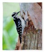 Female Downy Woodpecker Fleece Blanket