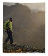 Female Hiker On Summit Of Tverrfjellet Fleece Blanket