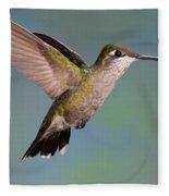 Female Magnificent Hummingbird At Flower Fleece Blanket