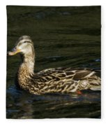 Female Mallard And Duckling Fleece Blanket