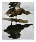 Female Mallard Duck  Fleece Blanket