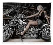 Female Model With A Motorcycle Fleece Blanket
