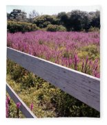 Fence And Purple Wild Flowers Fleece Blanket
