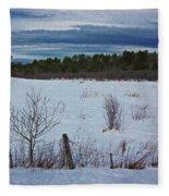 Fence And Snowy Field Fleece Blanket