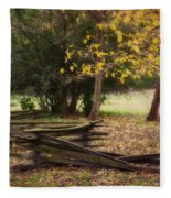 Fence And Tree In Autumn Fleece Blanket