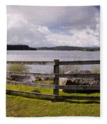 Fence At Kielder Water Fleece Blanket