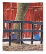Fence Full Of Buckets Fleece Blanket