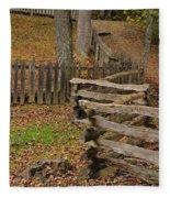 Fence In Autumn Fleece Blanket