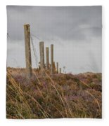 Fence In The Storm In Norway Fleece Blanket