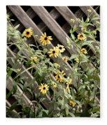 Fence Lined Wildflowers Fleece Blanket