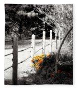 Fence Near The Garden Fleece Blanket