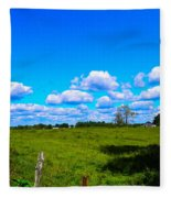 Fence Row And Clouds Fleece Blanket