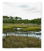 Fence Thru The Marsh Fleece Blanket