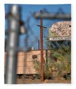 Fenced In  Abandoned 1950's Motel Trailer Fleece Blanket