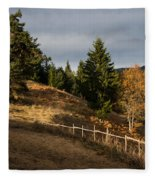 Fenced In Warm Autumn Light Fleece Blanket