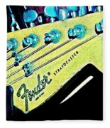 Fender Head In Watercolor Photo Fleece Blanket