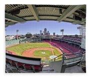 Fenway Park And Boston Skyline Fleece Blanket