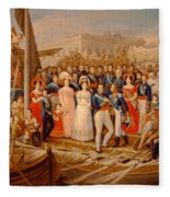 Ferdinand Vii Disembarking In The Port Of Santa Maria, 19th Century Oil On Canvas Fleece Blanket