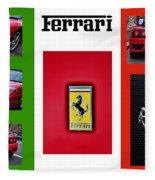 Ferrari Collage On Italian Flag Fleece Blanket