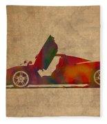 Ferrari Enzo 2004 Classic Car Watercolor On Worn Distressed Canvas Fleece Blanket