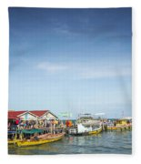 Ferries At Koh Rong Island Pier In Cambodiaferries At Koh Rong I Fleece Blanket