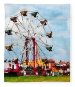 Ferris Wheel Against Blue Sky Fleece Blanket