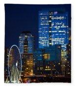 Ferris Wheel Seattle Harbor Fleece Blanket