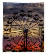Ferris Wheel Sunset Fleece Blanket