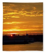 Ferry At Sunset Fleece Blanket