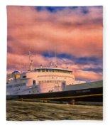 Ferry Dockside At Cold Bay Fleece Blanket