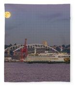 Ferry Under A Full Moon Fleece Blanket