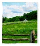 Field Near Weathered Barn Fleece Blanket