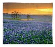 Field Of Dreams Texas Sunset - Texas Bluebonnet Wildflowers Landscape Flowers  Fleece Blanket