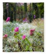 Field Of Flowers On A Rainy Day Fleece Blanket
