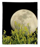 Field Of Gold By Moonlight Fleece Blanket