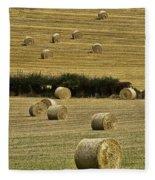 Field Of Hay Bales Fleece Blanket