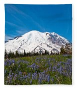 Field Of Lupines And Rainier Fleece Blanket