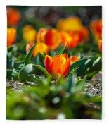 Field Of Orange Tulips Fleece Blanket