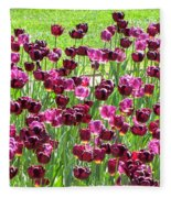 Field Of Purple Tulips 1 Fleece Blanket