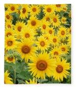 Field Of Sunflowers Helianthus Sp Fleece Blanket