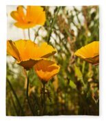 Field Of Yellow Poppies Fleece Blanket