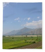 Fields Mountains Sky And A River Swat Valley Pakistan Fleece Blanket