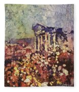 Fields Of Flower- And Roman Temple Fleece Blanket