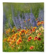 Fields Of Lavender And Orange Blanket Flowers Fleece Blanket